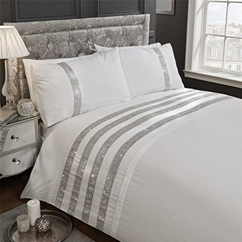 DIAMANTE SEQUIN BANDS PINTUCK WHITE COTTON BLEND USA QUEEN SIZE (COMFORTER COVER 230 X 220 - UK KING SIZE) (PLAIN WHITE FITTED SHEET - 152 X 200CM + 25 - UK KING SIZE) 4 PIECE BEDDING SET
