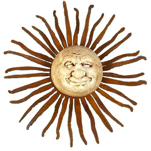 Elizabeth Keith Designs Little Smiling Sun Face Accent Wall Hanging, Made in USA, Indoor/Outdoor, 10