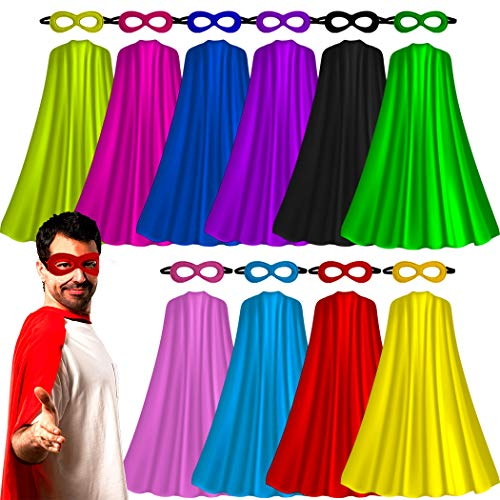 Superhero-Capes for Adults with Masks Bulk, Women Men Super-Hero Themed Birthday Party Dress Up Costume (10 Pack)]()