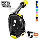 OUSPT Full Face Snorkel Mask, Snorkeling Mask with Detachable Camera Mount, Seaview 180° Upgraded Dive Mask with Newest Breathing System, Dry Top Set Anti-Fog Anti-Leak for Adult Youth (Black-2, S/M)