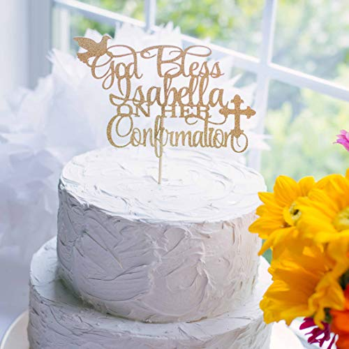 God Bless Personalized Cake Topper for Confirmation with Dove and -