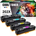 Cool Toner Compatible Toner Cartridge Replacement for HP 202X CF500X 202A CF500A for HP M281fdw HP Laserjet Pro M254dw MFP M281cdw M281fdw M281dw M280nw M254 M281 Toner Printer Ink (KCMY-4 Packs)