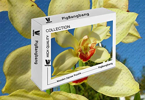 PigBangbang,Basswood with Glue Home Decoration -Yellow Orchid - 1500 Piece Jigsaw Puzzle (34.4 X 22.6