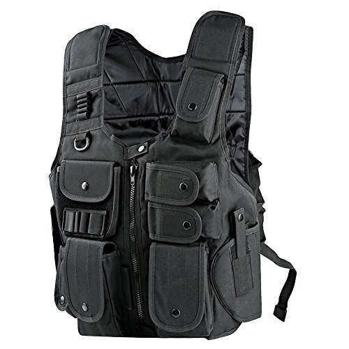 Pellor Black Tactical Airsoft Paintball Vest Outdoor CS Field Molle Army Military Marines Police Combat Hunting Costume with Pistol Holster