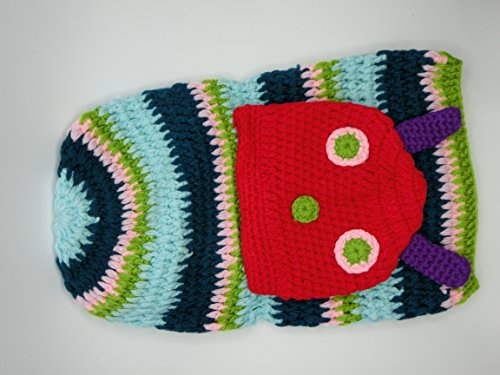 Very Hungry Caterpillar Infant Costume (Click Down Crochet Baby Girl Boy Hat Very Hungry Caterpillar Costume Cocoon Set)
