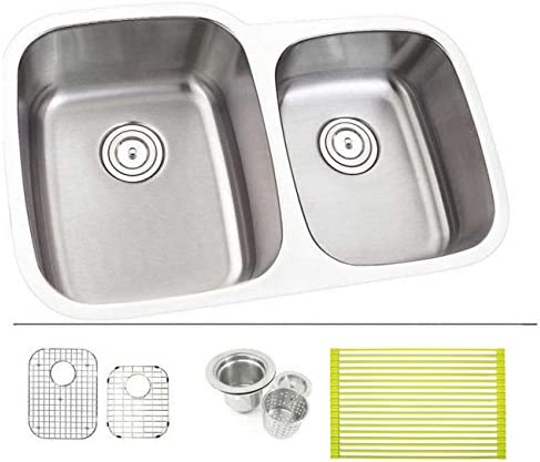30 Inch Stainless Steel Undermount Double Bowl 60 40 Offset Kitchen Sink – 18 Gauge FREE ACCESSORIES