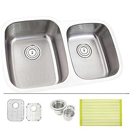 Merveilleux 30 Inch Stainless Steel Undermount Double Bowl 60/40 Offset Kitchen Sink    18 Gauge FREE ACCESSORIES     Amazon.com