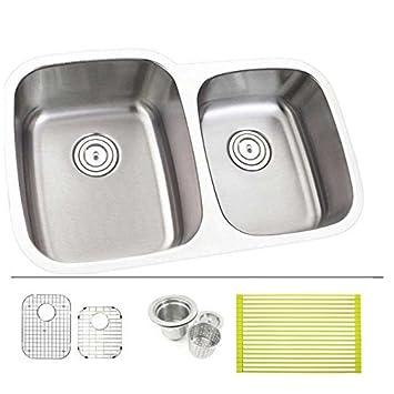 30 Inch Stainless Steel Undermount Double Bowl 6040 Offset Kitchen Sink 18 Gauge Free Accessories