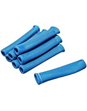 HOUTBY 8 PCS 1200 Degree Car Spark Plug Wire Boots Heat Shield Protector Sleeve Cover SBC BBC Automotive Blue