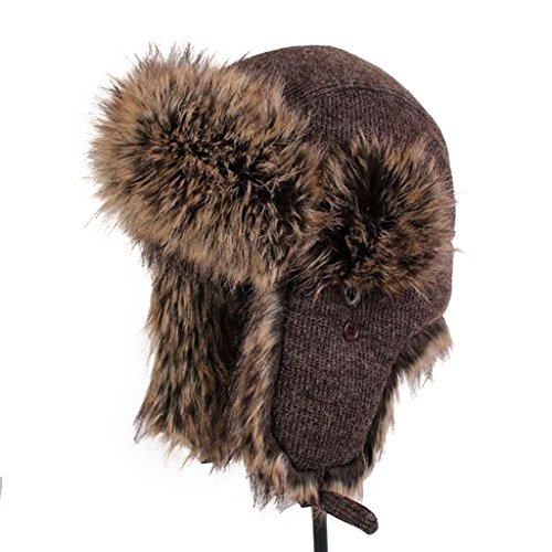 lethmik Winter Hats Faux Fur Hunting Trapper Hat Unisex Warm Aviator Bomber Hat Brown