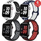 EXCHAR Sport Band Compatible with Apple Watch Band 38mm 40mm Breathable Soft Silicone Replacement Wristband Women and Man for iWatch Series 4 3 2 1 Nike+ All Various Styles M/L 4 Pack