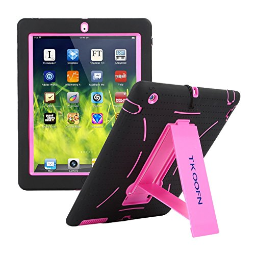 TKOOFN Shockproof Bumper Case Cover with Built in Stand for iPad 2 / iPad 3 (The New iPad) / iPad 4 (iPad with Retina Display) + Screen Protector + Stylus + Cleaning Cloth, Black/Pink - PT7704