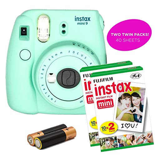 Fujifilm – Instax Mini 9 Instant Camera Product Bundles | Film Pack Options | Fujifilm Renewed (Mini 9 + 2 Film Packs, Mint Green)