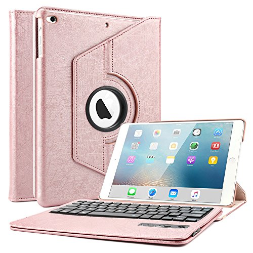 iPad 9.7 2018 2017 Keyboard Case, Boriyuan 360 Degree Rotating Stand PU Leather Smart Cover with Bluetooth Wireless Keyboard for Apple New iPad 2018 2017 iPad 9 7 inch - Rose Gold by Boriyuan