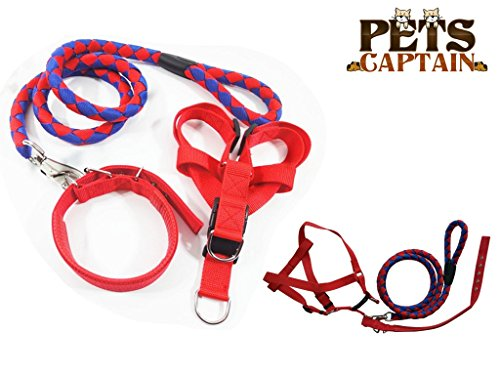 PetsCaptain Pet Leash,Harness,and Collar Bundle set for Medium dogs and cats, Red & Blue, Medium, OWL3-RBU-M