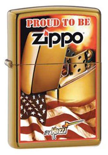 2013N ZIPPO 204B Brush Brass / CI000128-Mazzi Zippo Flag