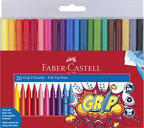 Faber Castell Grip Color Markers - 20 Washable Fineline Markers