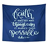 Breezat Tapestry Faith Does Not Make Things Easy It Makes Them Possible Bible Verse Hand Lettered Quote Modern Calligraphy Home Decor Wall Hanging for Living Room Bedroom Dorm 50x60 Inches