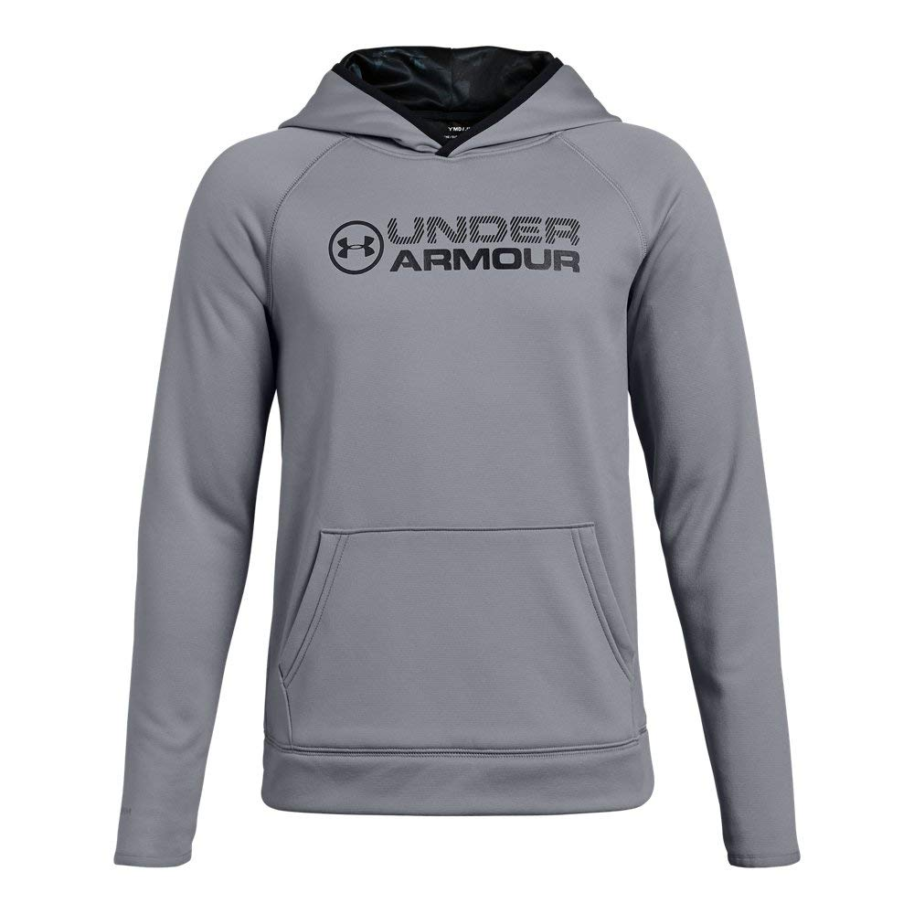 Under Armour Boys Armour Fleece Stacked Hoodie, Steel (035)/Black, Youth X-Large by Under Armour