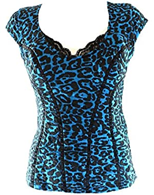 Guess Black Leopard Print Seamed Women's Medium Blouse Blue M
