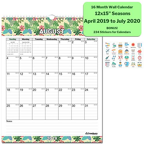 Hanging Blocks (Wall Calendar 2019-2020 Academic Calendar (Seasons) 12x15 Inches Stunning Large Monthly Wall Calendar, 16 Months Use to July 2020, with Bonus Stickers, Hanging Office Calendar by Cranbury)