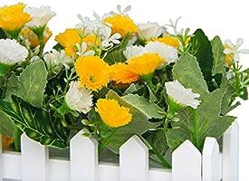 Rose Flikool Chrysanthème Fleurs Artificielles Clôture Truqué Plantes Artificielles in Pot Simulation Potted Bonsai Faux Floral Artificiels Maison Ornements de Décoration 30 17 cm 7.5