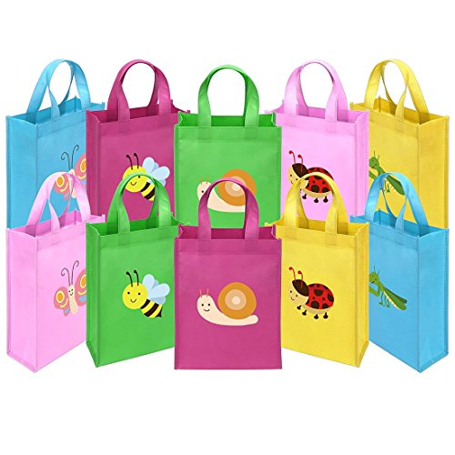 Ava & Kings Fabric Tote Party Favor Goodie Gift Bags for Candy, Treats, Toys, Loot - Birthdays, Showers, Easter, Halloween, Lunch, Grocery - Set of 10 - Busy Buggies -