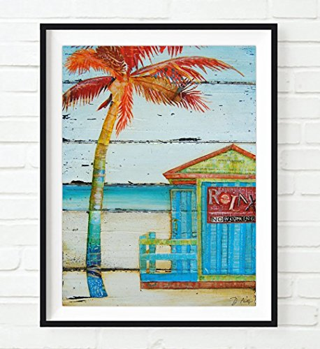 Relax...No Working - Danny Phillips ART PRINT, UNFRAMED, Nautical coastal beach hut wall decor summer vacation gift poster, 8x10 - Hut Beach By The