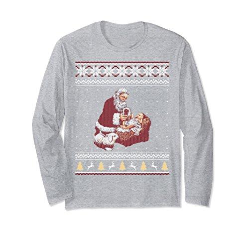 Unisex Santa Claus And Baby Jesus Nativity Manger Christmas Shirt 2XL Heather Grey