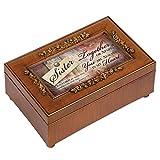 Cottage Garden Sister Rich Walnut Finish Petite Jewelry Music Box - Plays Amazing Grace