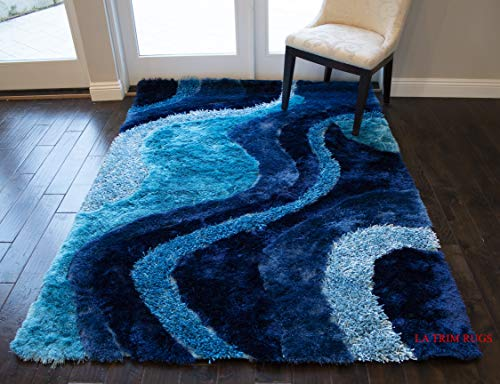 LA 8'x10' Dark Blue Light Blue 3D Shag Shaggy Area Rug Carpet Striped Woven Braided Hand Knotted Feizy Accent Fluffy Fuzzy Modern Contemporary Medium Pile Shimmer - Signature New 72 Turquoise ()