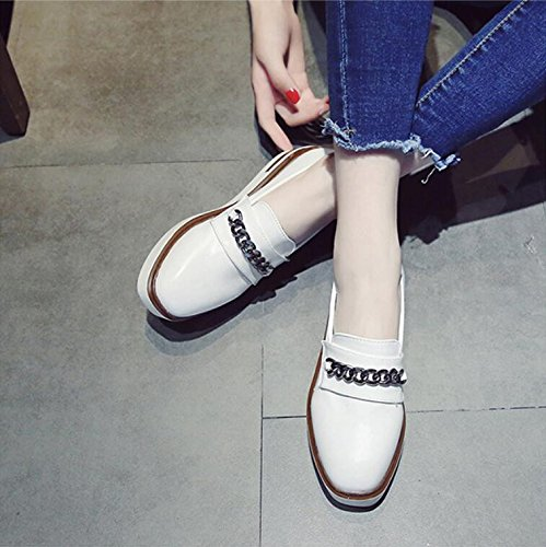KHSKX-Autumn New Sponge Cake Thick Single Shoes Small Leather Shoes Korean Version Of The Student And Versatile Square Head Rising Tide Female Shoes 39 RrraIE