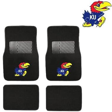 KU University of Kansas Jayhawks Car Truck SUV Front & Rear Seat Carpet Floor Mats - 4PC