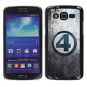 Be Good Phone Accessory // Dura Cáscara cubierta Protectora Caso Carcasa Funda de Protección para Samsung Galaxy Grand 2 SM-G7102 SM-G7105 // 4 Number Grey Tv Blue