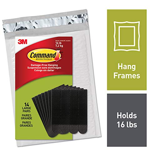 Command by 3M Picture Hanging Strips, Black, 2 pairs hold 8 pounds, Create Wall Collages, 14 Pairs, Hangs 4-7 frames (PH206BLK-14NA)
