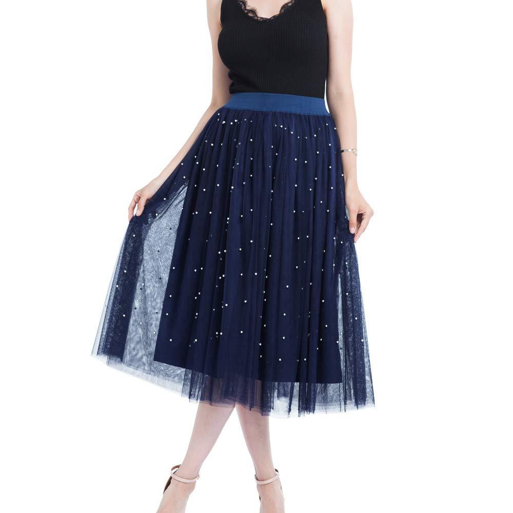 Hunzed Women【Pearl Skirt】Clearance Women Pearl Embellished Sheer Tulle Midi Skirt