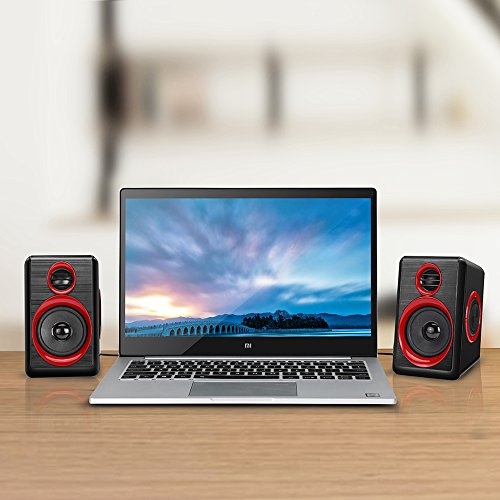 Computer Speakers With Heavy Bass,Subwoofer, Volume Control, 3.5mm Audio, USB Wired Powered Built-in Four Loudspeaker Diaphragm Multimedia Speaker for PC/Laptops/desktop/ASUS/ACER Computer (RED) by TOMOT (Image #6)