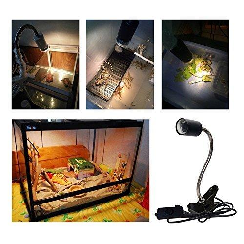 CTKcom UVA UVB Light Bulb Reptile Ceramic Heat Lamp Pet Heating Bulb Holder Clamp Lamp Fixture Heating Light Lamp for Reptiles,Aquarium Reptile Light Adjustable Habitat Lighting Stand,110V-130V White