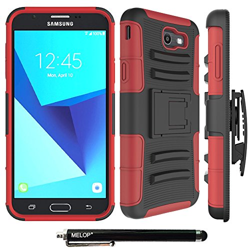 Melop Case for Galaxy J7 2017/J7 V/J7 Prime/J7 Perx/J7 Sky Pro/Galaxy Halo Case, Three Layer Swivel Belt Clip With Kickstand Holster Built-In Armor Case for Samsung Galaxy J7 2017 - Black/Red