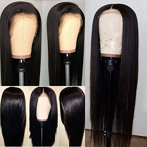 Glueless Natural Straight Lace Front Wigs with Baby Hair Fashion Long Hair Wig Synthetic Heat Resistant Fiber for Women 26 inch (Hair Braided To The Side With Weave)
