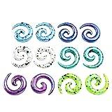 """PiercingJ 12pcs 12G 8G 6G 4G 2G 0G 00G 1/2"""" Mixed Colors Uv Acrylic Spiral Snail Plug Ear Stretching Kit"""
