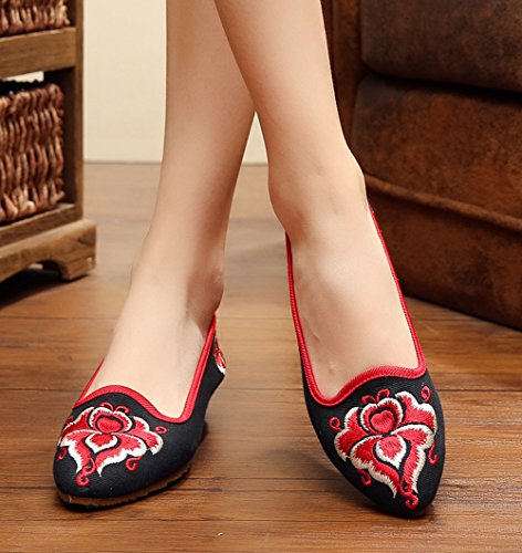 Avacostume Cales De Broderie Point Toe Slip Plat Sur Les Chaussures Pour Femmes Filles, Noir, 40