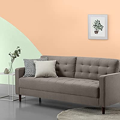 Zinus Benton Mid-Century Upholstered 76 Inch Sofa / Living Room Couch, Stone Grey Weave - Easily assembles with a friend, no tools needed, in under 20 minutes Stress-free fabrics were chosen to be durable and easy-to-clean 76.4 inches long, with tufted back and seat cushions - sofas-couches, living-room-furniture, living-room - 51OhOfLzFYL. SS400  -
