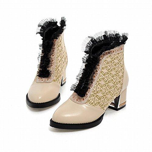 Carolbar Womens Chic Rits Lace Rhinestone Fashion Elegance Chunky Mid-hiel Jurk Laarzen Beige