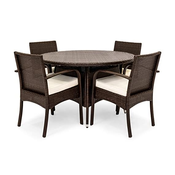 Best Choice Products 5-Piece Indoor Outdoor Patio Wicker Dining Set Furniture w/Round Table, 4 Chairs, Cushions - STYLISH AND ELEGANT: Made with durable, weather-resistant wicker, this dining set compliments any backyard space WEATHER RESISTANT: Wicker and polyester cushions offer protection against inclement weather and outdoor elements BUILT TO LAST: The aluminum frames for the table and chairs are sturdy and long-lasting, ensuring that you can enjoy this set for years to come - patio-furniture, dining-sets-patio-funiture, patio - 51OhOkzA RL. SS570  -
