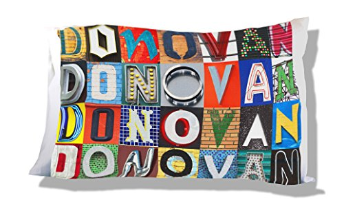 DONOVAN Personalized Pillowcase featuring photos of sign letters