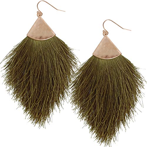 Humble Chic Fringe Tassel Statement Dangle Earrings - Lightweight Long Feather Drops, Olive Green, Gold-Tone