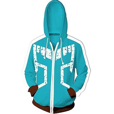 0f18253ab LeeQn Unisex Anime Cosplay 3D Pullover Print Hooded Sweatshirt Hero College  Zipper L