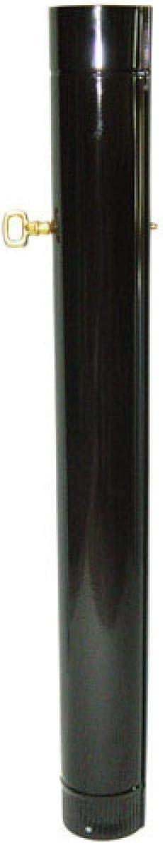 WOLFPACK LINEA PROFESIONAL 22011020 Wolfpack Tubo Acero Vitrificado Ø 120 mm. con Llave Estufas De Leña, Chimenea, Alta Resistencia, Color Negro