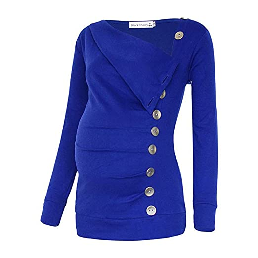 702bd99bf4a Amazon.com  Women Maternity Tops Long Sleeve Buttons Mama Pregnancy Clothes  Pleated Nursing Blouse Breastfeeding S-XXXL  Clothing